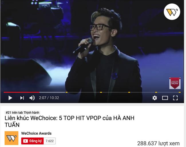 Liên khúc 5 hit Vpop của Hà Anh Tuấn tại Gala WeChoice Awards thuộc top hot nhất Việt Nam - Ảnh 1.