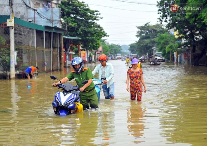 Chùm ảnh: Kiếm bộn tiền từ việc chèo đò qua điểm ngập nặng trong đợt lụt lịch sử tại Ninh Bình - ảnh 1