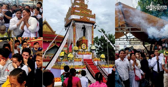Đám tang Á quân The Voice Campuchia bị chồng bắn chết: Hai con thơ dại và bạn trai tin đồn đến đưa tiễn - Ảnh 2.