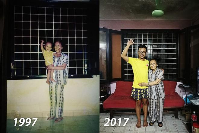 Bức ảnh bà cháu ngày ấy - bây giờ cùng bộ quần áo cũ 20 năm vẫn mặc tốt gây xúc động - Ảnh 1.