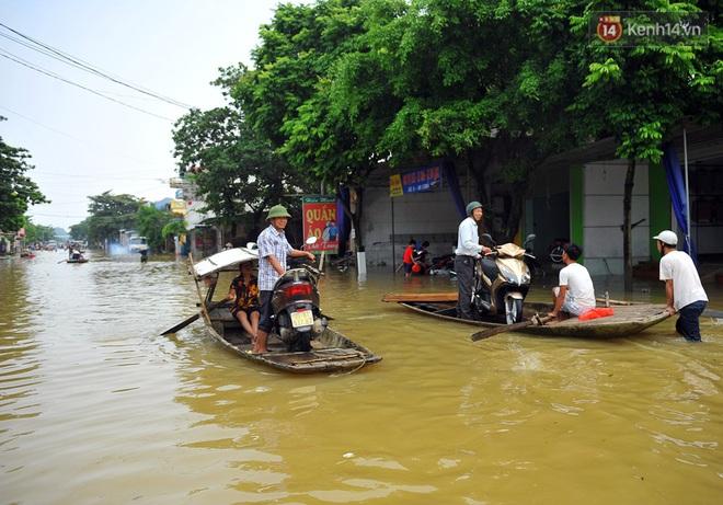 Chùm ảnh: Kiếm bộn tiền từ việc chèo đò qua điểm ngập nặng trong đợt lụt lịch sử tại Ninh Bình - ảnh 4