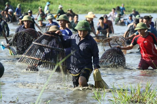 Hà Tĩnh: Hàng trăm người đội nắng xuống đầm bắt cá để cầu may - Ảnh 7.