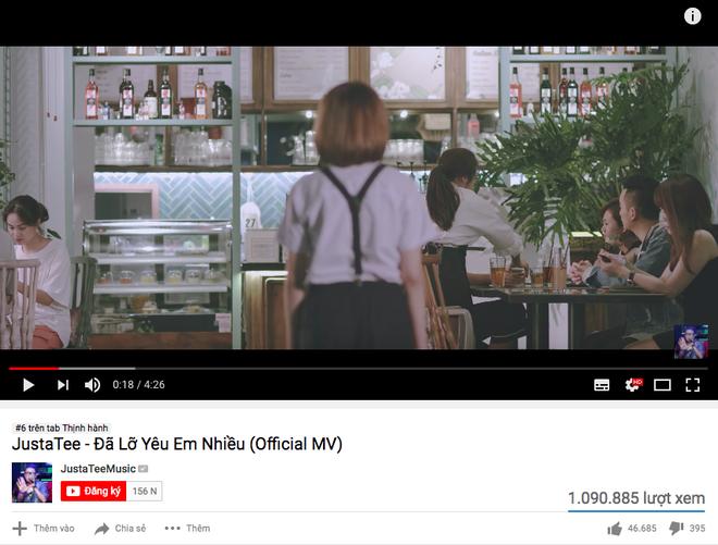 MV trở lại của Justatee cán mốc 1 triệu lượt xem, leo thẳng lên vị trí #6 trending Youtube ngay trong ngày đầu - Ảnh 2.