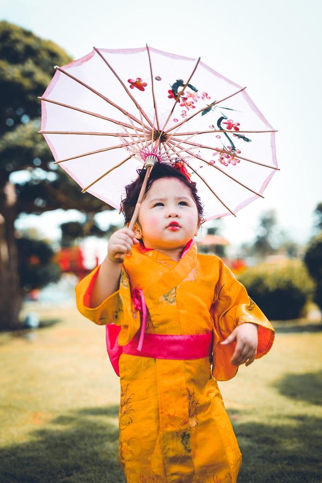 Tan chảy trước độ dễ thương của cô bé Việt 2 tuổi má phính diện Kimono, tóc tơ cài hoa - Ảnh 8.
