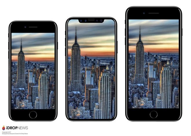 Dù nhỏ hơn iPhone 7 Plus nhưng màn hình iPhone 8 sẽ lớn hơn rất nhiều, bạn cứ nhìn hình ảnh là biết - Ảnh 1.