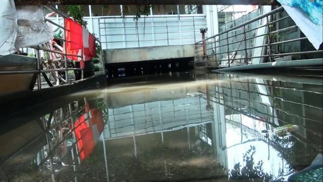 Nước nhấn chìm cả trăm xe máy, ô tô trong chung cư - ảnh 1