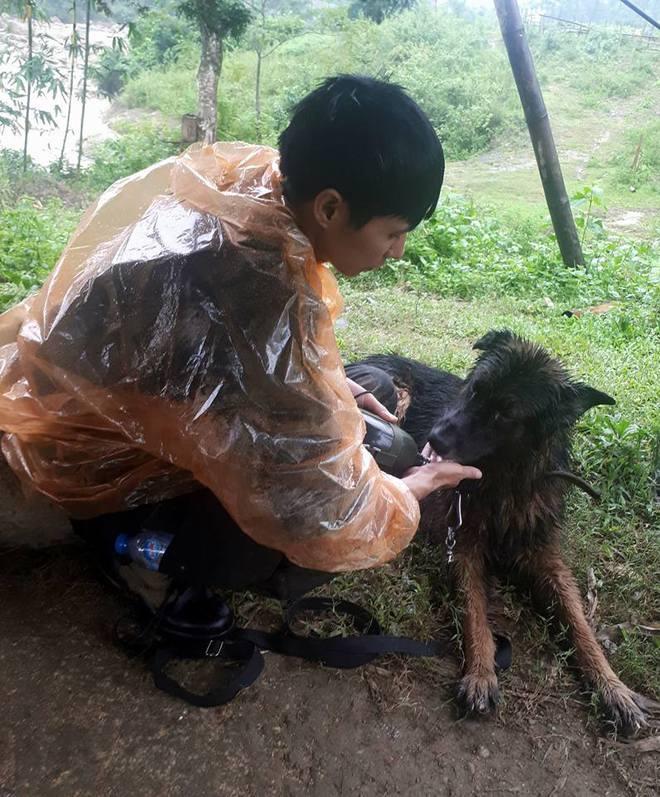 Tình đồng đội đặc biệt giữa chiến sĩ cảnh sát và chú chó nghiệp vụ trên hành trình cứu hộ sau sạt lở kinh hoàng ở Hòa Bình - ảnh 3
