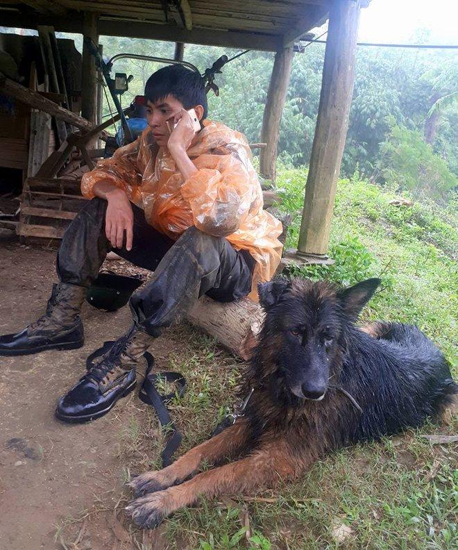 Tình đồng đội đặc biệt giữa chiến sĩ cảnh sát và chú chó nghiệp vụ trên hành trình cứu hộ sau sạt lở kinh hoàng ở Hòa Bình - ảnh 4