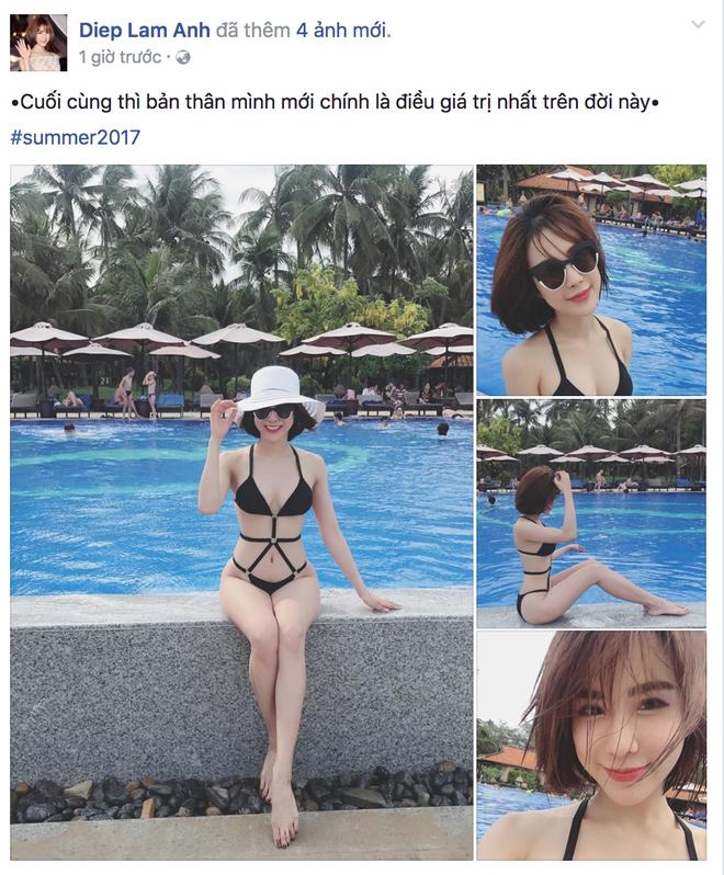 Khoe dáng với bikini nóng bỏng, Diệp Lâm Anh vẫn bị soi dùng siêu năng lực bẻ cong bức hình - Ảnh 1.
