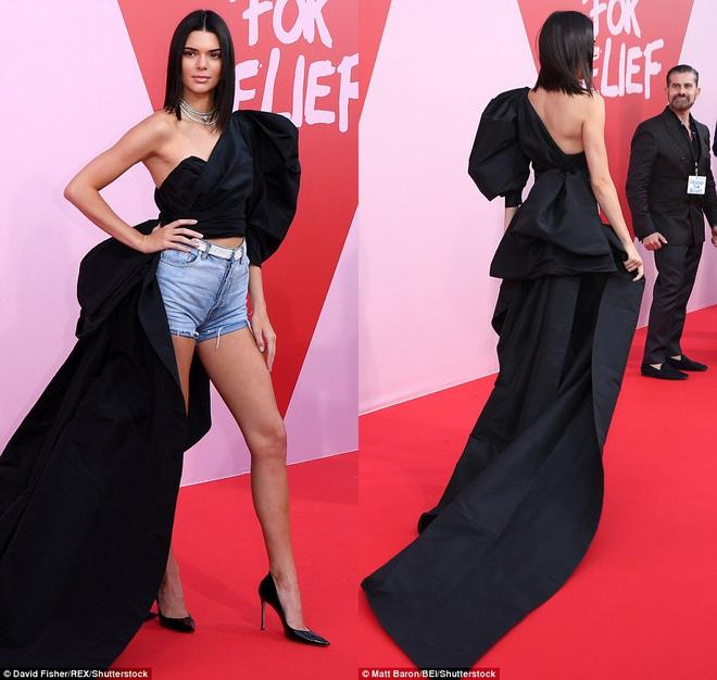 Bella mải xốc váy vì sợ lộ hàng, Kendall diện cả quần short đi thảm đỏ Cannes - Ảnh 4.