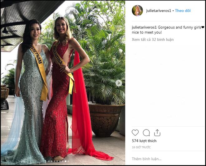 Chỉ bằng một hành động, Phương Nga khéo léo dập tắt tin đồn mâu thuẫn với đại diện Argentina tại Miss Grand International 2018 - Ảnh 3.