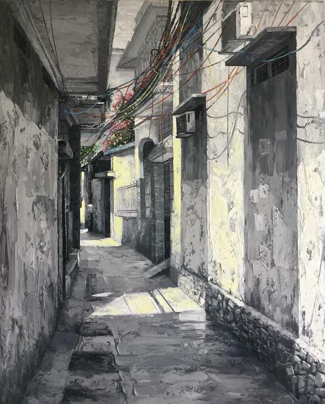 Chùm tranh sơn dầu chủ đề ngõ nhỏ, phố nhỏ đẹp ngỡ ngàng và chân thực không thua gì ảnh chụp - Ảnh 4.