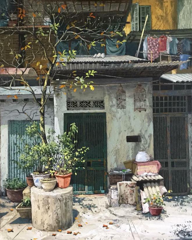 Chùm tranh sơn dầu chủ đề ngõ nhỏ, phố nhỏ đẹp ngỡ ngàng và chân thực không thua gì ảnh chụp - Ảnh 7.
