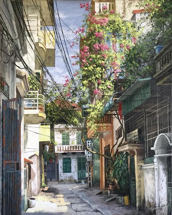 Chùm tranh sơn dầu chủ đề ngõ nhỏ, phố nhỏ đẹp ngỡ ngàng và chân thực không thua gì ảnh chụp - Ảnh 8.
