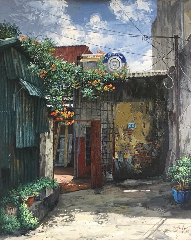 Chùm tranh sơn dầu chủ đề ngõ nhỏ, phố nhỏ đẹp ngỡ ngàng và chân thực không thua gì ảnh chụp - Ảnh 9.