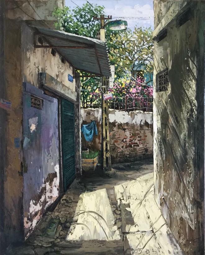 Chùm tranh sơn dầu chủ đề ngõ nhỏ, phố nhỏ đẹp ngỡ ngàng và chân thực không thua gì ảnh chụp - Ảnh 13.