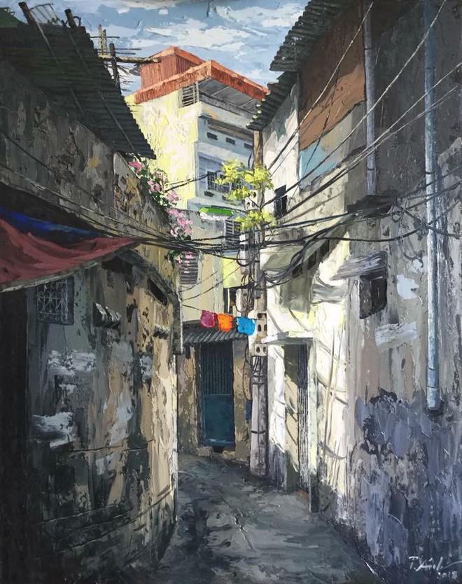 Chùm tranh sơn dầu chủ đề ngõ nhỏ, phố nhỏ đẹp ngỡ ngàng và chân thực không thua gì ảnh chụp - Ảnh 14.
