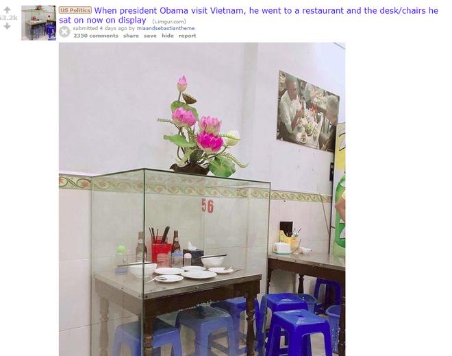 Câu chuyện chiếc bàn ăn ông Obama từng ngồi lồng khung kính lên báo nước ngoài, cộng đồng mạng bàn tán xôn xao - ảnh 3