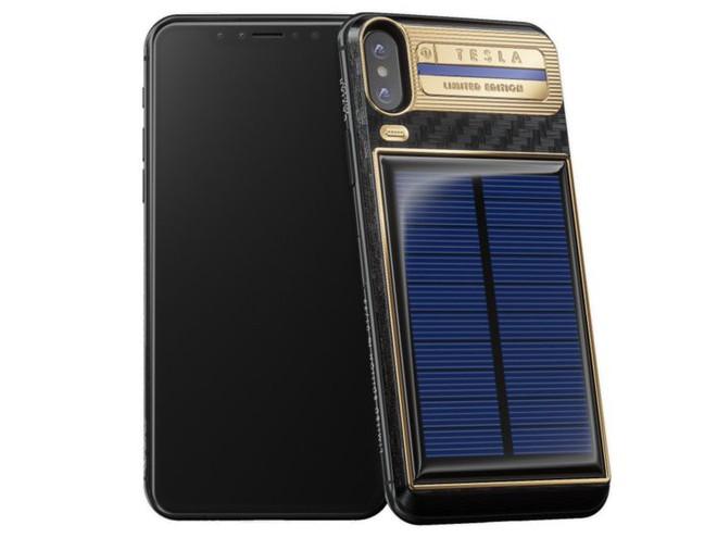 Xuất hiện iPhone X Tesla giá gần tỷ đồng, có pin mặt trời lướt web cả ngày không lo hết - Ảnh 2.