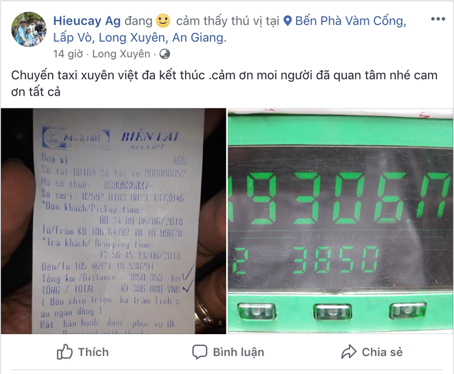 Chuyến đi phá mọi kỷ lục của ngành taxi: Chạy một mạch 3850 cây số khứ hồi An Giang - Hà Nội, hết 49 triệu tiền cước - Ảnh 1.