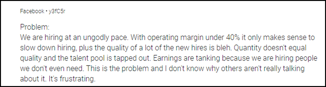 Soi cách nhân viên Facebook nói về công ty trên mạng ẩn danh: Buồn bực, kêu ca rồi đổ tội lãnh đạo - Ảnh 4.