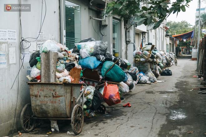 Ảnh: 4 ngày không đổ rác do người dân chặn xe tải vào bãi, nhiều quận nội thành Hà Nội ngập ngụa trong phế thải - ảnh 17