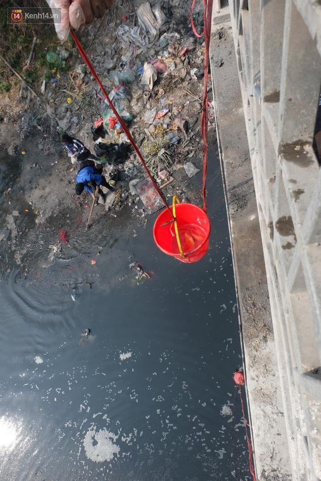 Hà Nội: Cá chép tiễn ông Công ông Táo được TNV hỗ trợ bỏ vào chậu thả xuống lòng sông, nhưng dòng nước đen kịt khiến ai cũng phải nhíu mày - ảnh 6