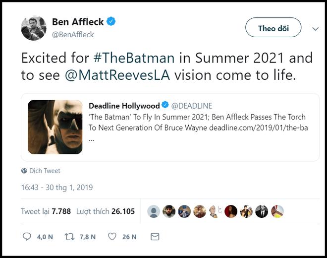 Phim riêng Batman của DC ấn định ngày ra mắt chính thức mà không có Ben béo - ảnh 2