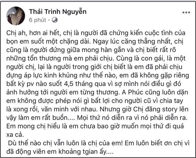 Vừa thoải mái chưa bao lâu, Thái Trinh lại bức xúc khi bị nói tỏ thái độ với Quang Đăng hậu chia tay? - Ảnh 1.