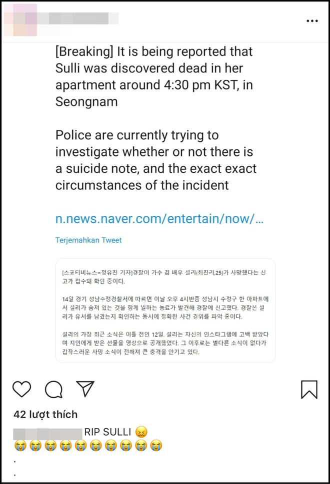 Netizen thế giới bàng hoàng trước tin Sulli đột ngột qua đời, đã tìm thấy thi thể vào chiều nay: Sốc, không thể tin được!  - Ảnh 3.