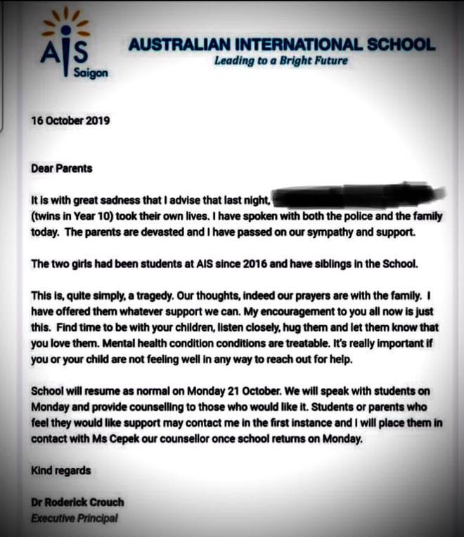 Chị em sinh đôi học trường quốc tế tại TP.HCM tự tử - ảnh 1