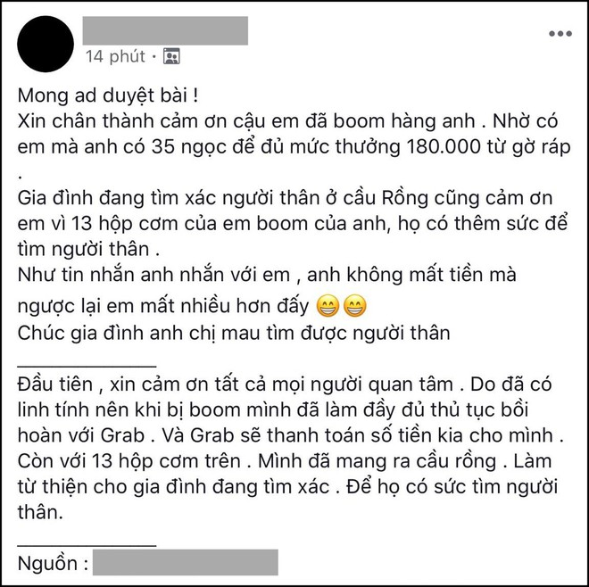 Xôn xao câu chuyện anh shipper ở Đà Nẵng bị bom 13 suất cơm, tin nhắn cợt nhả của thượng đế còn gây phẫn nộ hơn - ảnh 1