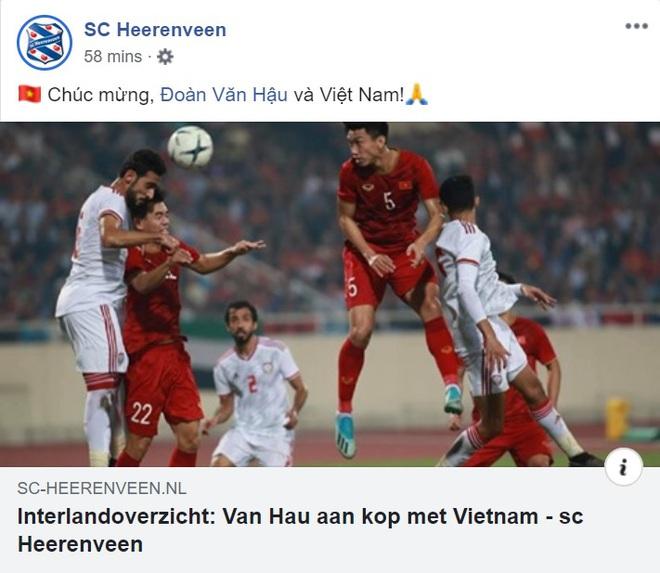 CLB Heerenveen chúc mừng Văn Hậu và Việt Nam sau thắng lợi thuyết phục trước UAE - ảnh 2