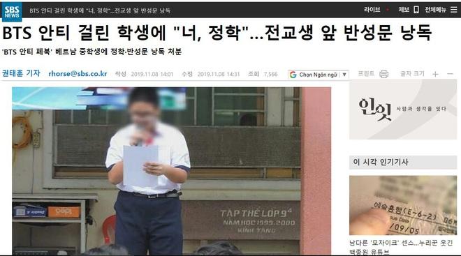 Đài truyền hình lớn của Hàn Quốc đưa tin vụ nam sinh Việt lập page anti BTS bị nhà trường đỉnh chỉ học, bắt xin lỗi công khai - ảnh 1