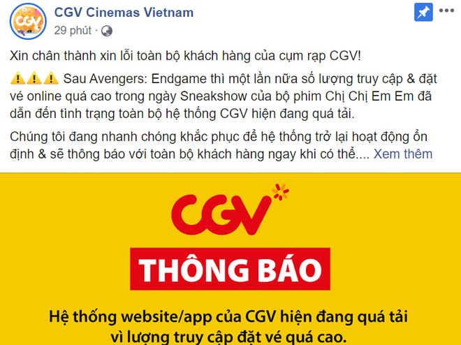 CGV thông báo sự cố sập hệ thống online vì Chị Chị Em Em sốt vé, khán giả nghi vấn là chiêu trò hay mạng dỏm? - ảnh 1