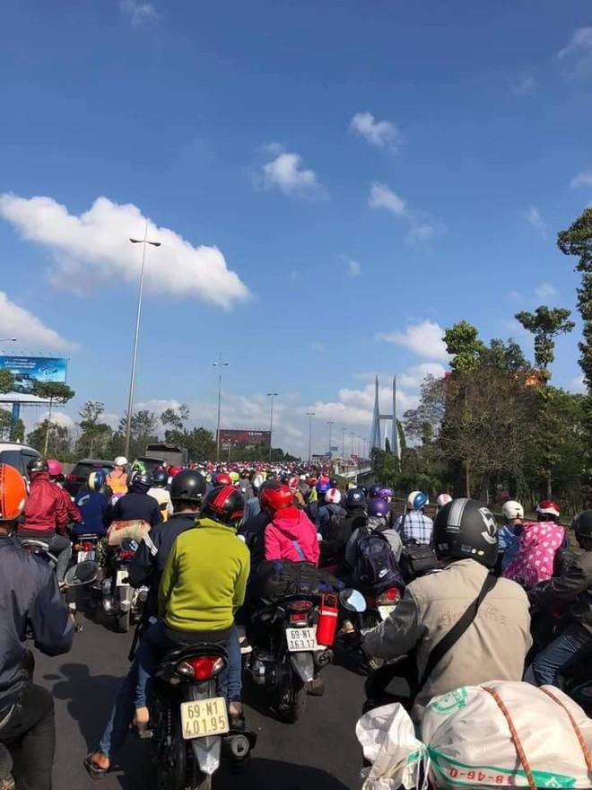 Khoảnh khắc trái ngược trên cầu Mỹ Thuận: Làn đường hướng về Sài Gòn chật kín người, làn ngược lại về miền Tây rộng thênh thang - Ảnh 7.