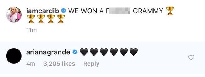 Chuyện gì xảy ra nữa đây: Ariana văng tục khi Cardi B nhận Grammy, sau đó xin lỗi và thả tim tình thương mến thương - Ảnh 3.