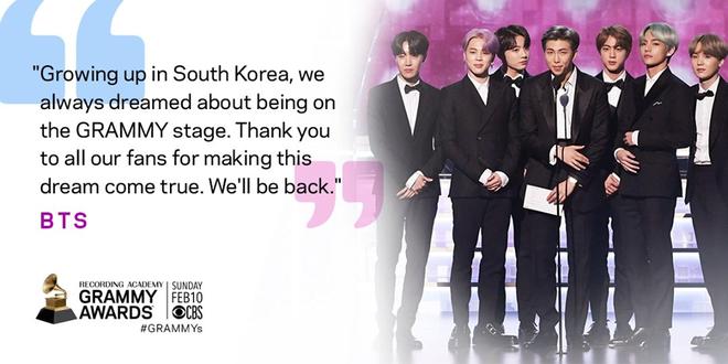 BTS khiến fan Kpop tự hào với lời hứa chắc nịch tại sân khấu Grammy 2019: Chúng tôi sẽ quay trở lại - Ảnh 2.