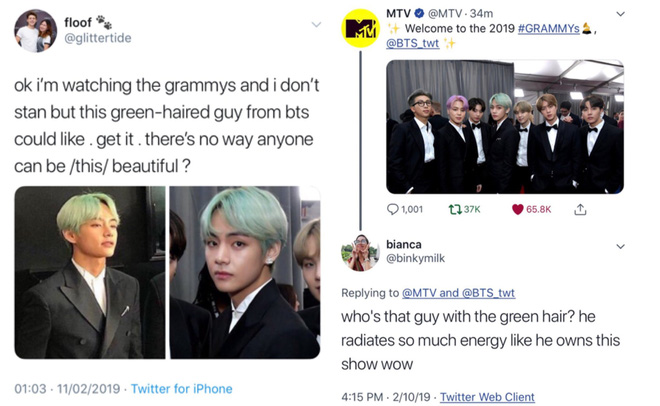 Chùm ảnh: Khoảnh khắc xuất thần của V (BTS) ở Grammy khiến dân tình phải thốt lên Chàng trai với mái tóc xanh lá là ai vậy? - Ảnh 1.