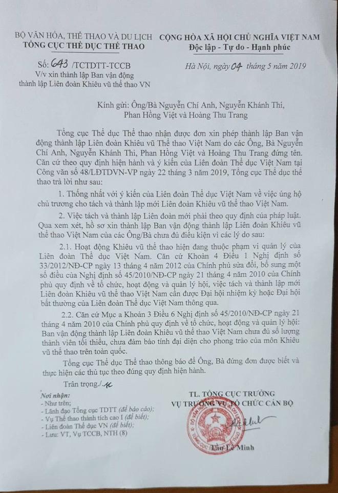 Tổng cục TDTT và Liên đoàn thể dục Việt Nam đồng ý cho thành lập Liên đoàn khiêu vũ thể thao Việt Nam - Ảnh 1.