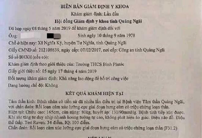 Vô cớ đánh học sinh, thầy giáo ở Quảng Ngãi bị chẩn đoán mắc bệnh tâm thần - ảnh 2