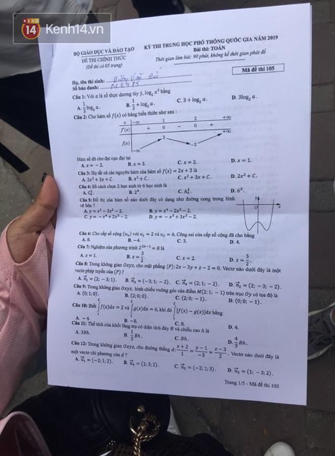 Đề thi THPT quốc gia 2019 môn Toán: Nhiều thí sinh tự tin đạt điểm 8, 9 vì đề dễ bất ngờ - Ảnh 1.