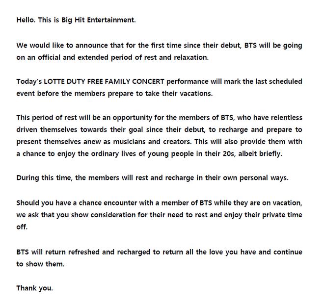 Nóng: BTS đột ngột thông báo đóng băng mọi hoạt động, trending twitter toàn thế giới dậy sóng - Ảnh 1.