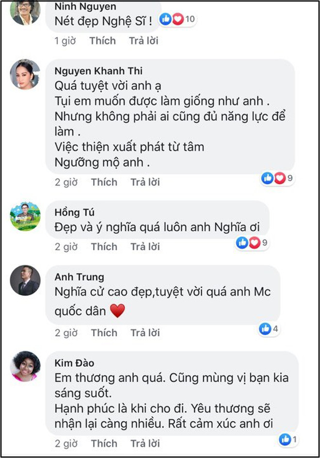 Sao Việt đồng loạt dành hết lời khen ngợi khi MC Đại Nghĩa quyết mang gần 800 triệu đồng thắng gameshow đi làm từ thiện - ảnh 4
