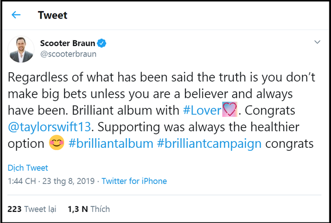 """Lật nhanh hơn bánh tráng chính là Scooter Braun: Chúc mừng Taylor Swift ra album mới nhưng vẫn vô tư chiếm đoạt """"gia tài"""" của cô - ảnh 1"""