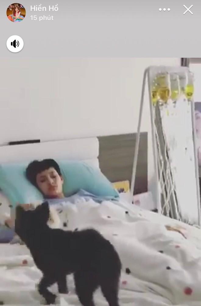 Hiền Hồ nằm trên giường bệnh, chuyền một lúc 5 chai thuốc khiến fan lo lắng - Ảnh 1.
