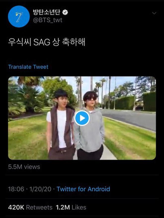 Đẳng cấp bạn thân hậu sao Kí Sinh Trùng thắng giải lớn: Park Seo Joon và V (BTS) thi nhau dìm hàng chúc mừng Choi Woo Sik - ảnh 8