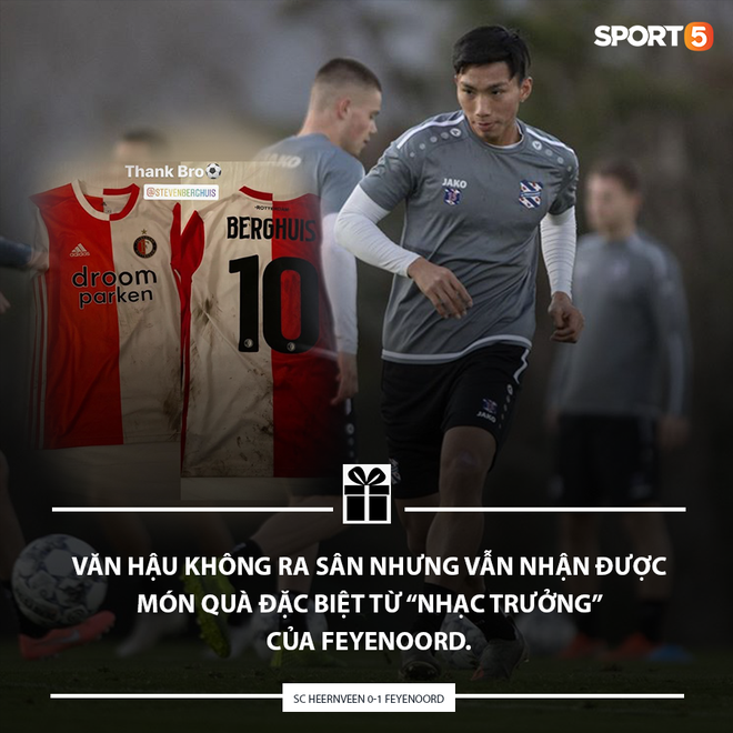 Không thi đấu một phút nào trong thất bại của SC Heerenveen, Văn Hậu vẫn nhận được quà Valentine đặc biệt từ tuyển thủ Quốc gia Hà Lan - ảnh 1