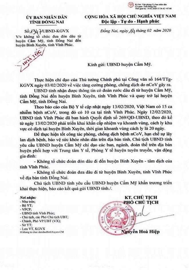 Một đám cưới ở Đồng Nai không tổ chức ra Vĩnh Phúc đón dâu để phòng chống dịch - ảnh 1