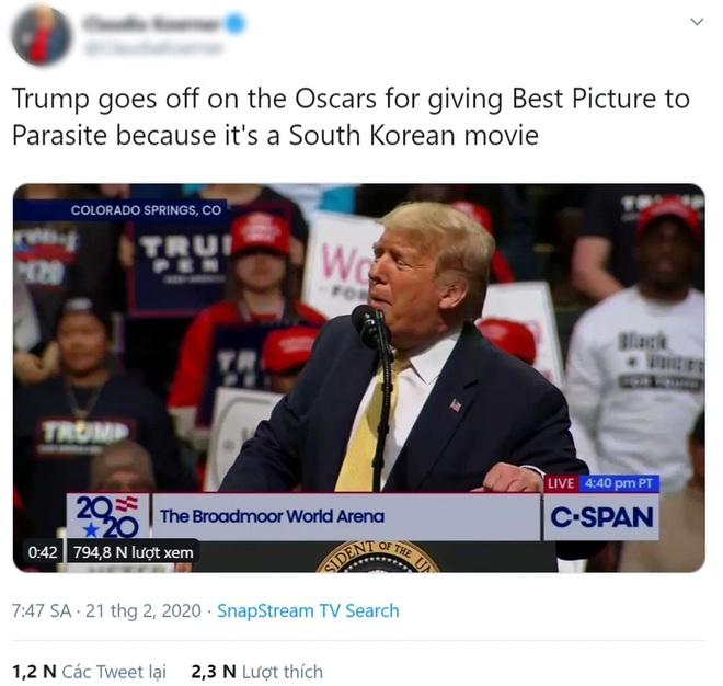 Parasite thắng Oscar, Tổng thống Donald Trump phản ứng gây bất ngờ: Cái quái gì vậy, sao lại là phim Hàn Quốc? - ảnh 1